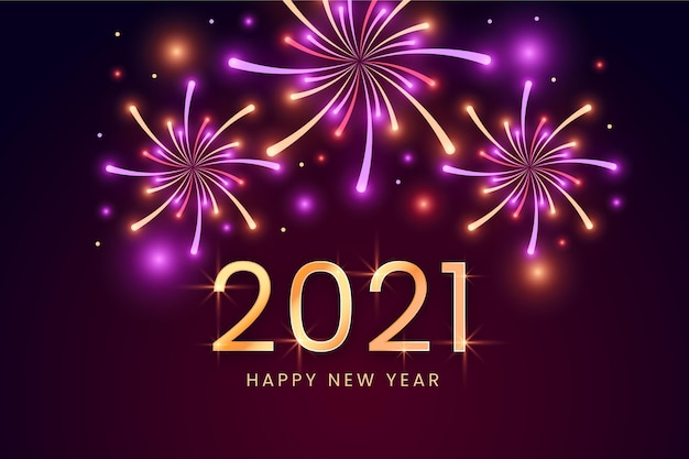 Fuochi d'artificio nuovo anno 2021 sfondo Vettore Premium