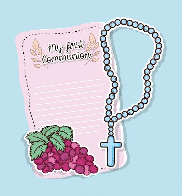 Prima carta di comunione con uva e rosario Vettore Premium
