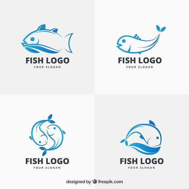 Collezione di loghi di pesce per marchi aziendali Vettore Premium