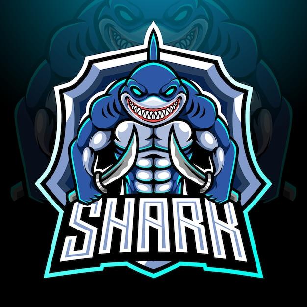 Disegno della mascotte del logo di pesce squalo esport Vettore Premium