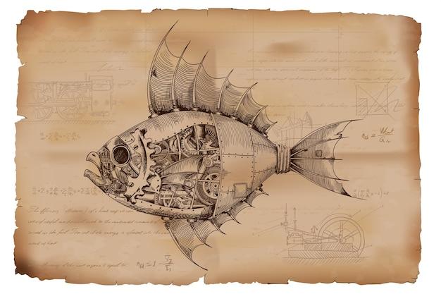 Pesce con corpo in metallo a comando meccanico in stile steampunk sullo sfondo di vecchia carta stropicciata con disegni, formule e note tecniche. Vettore Premium