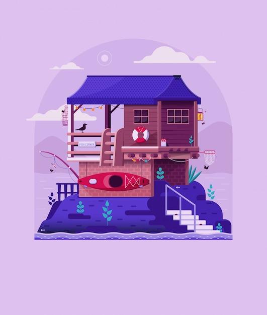 Casa del pescatore sulla roccia dalla riva del fiume. casa molo in legno sul lago stampa vintage. Vettore Premium