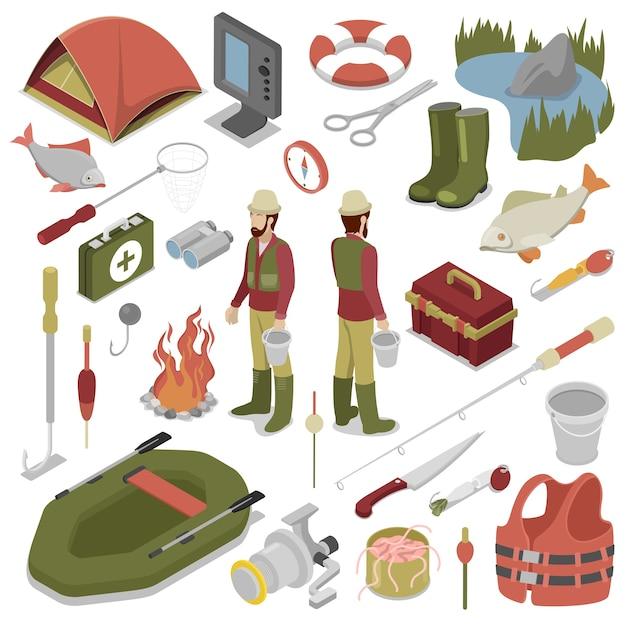 Pescatore con pesce, canna, amo e barca. strumenti di pesca. illustrazione isometrica 3d piana di vettore Vettore Premium