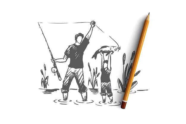 Pesca, padre, figlio, concetto di famiglia. papà disegnato a mano e suo figlio che pescano insieme schizzo di concetto. Vettore Premium