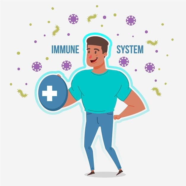 Uomo adatto con un buon sistema immunitario contro i virus Vettore Premium