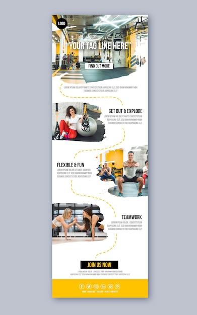 Modello di e-mail di comunicazione fitness Vettore Premium