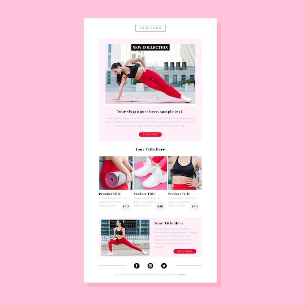 Modello di email fitness Vettore Premium