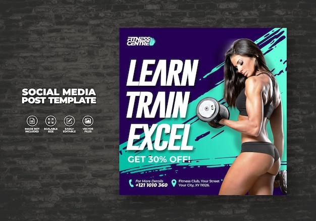 Banner di social media fitness o palestra Vettore Premium