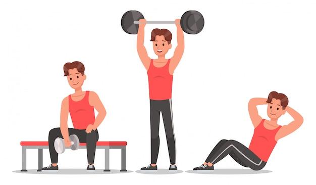 Uomo fitness facendo esercizio set di caratteri Vettore Premium