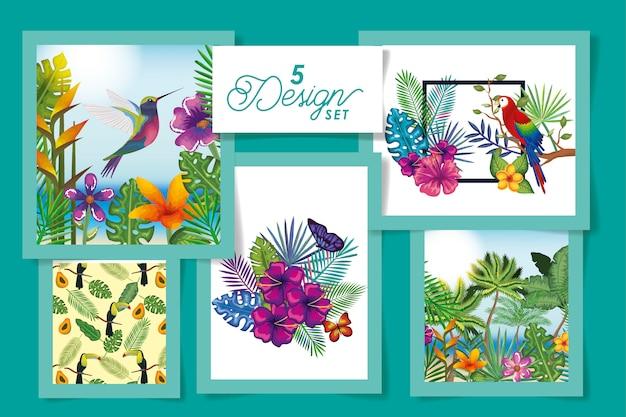 Cinque di animali con fiori e foglie tropicali Vettore Premium