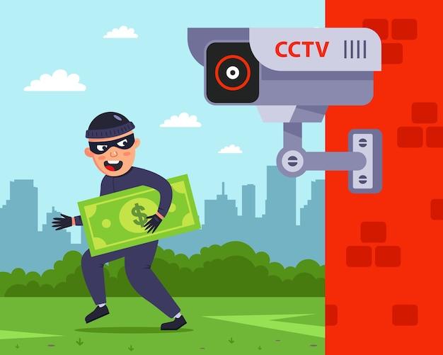 Fissaggio a una telecamera di sorveglianza esterna. il criminale rapina le persone. Vettore Premium