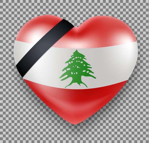 Bandiera del libano a forma di cuore con un nastro in lutto. lutto nazionale. tragedia, esplosione a beirut. Vettore Premium