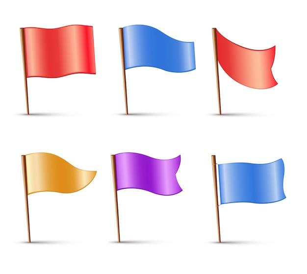 Bandiere, set di perni multicolori Vettore Premium