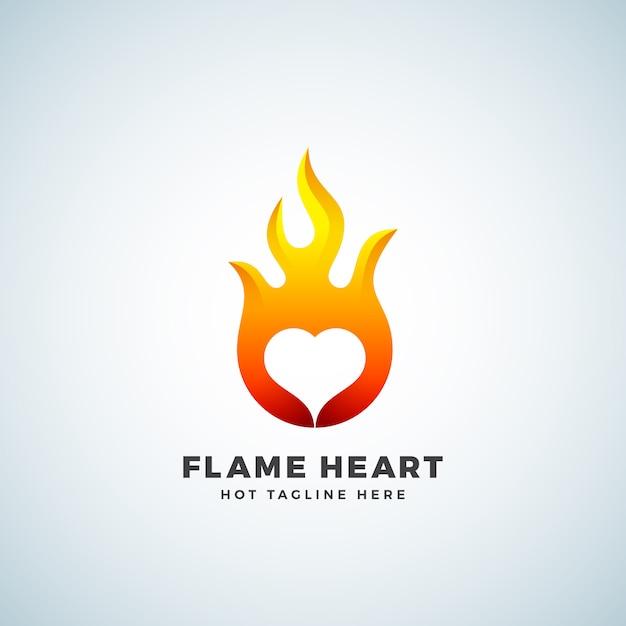 Segno, simbolo o logo astratto del cuore della fiamma. concetto di emblema dello spazio negativo. Vettore Premium