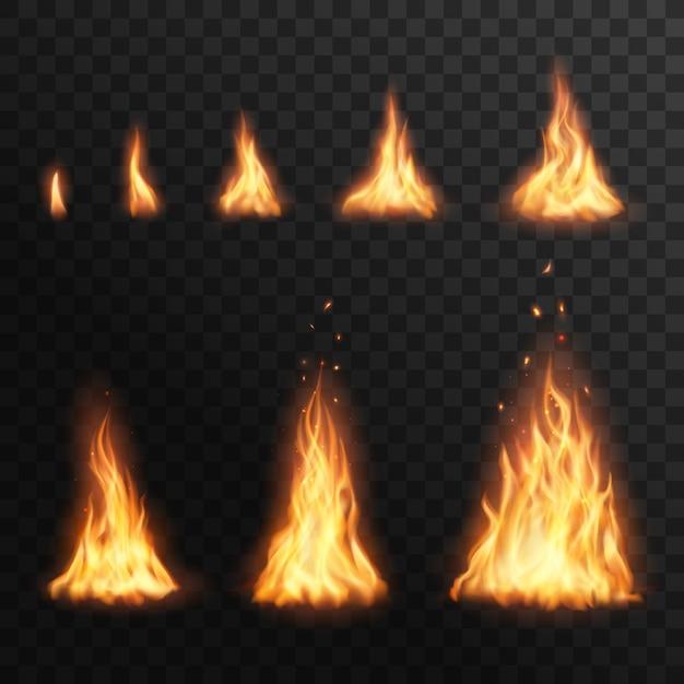 Fiammeggiando le fasi del fuoco, bruciando l'effetto fiammeggiante del fuoco per l'animazione. fiamma realistica della torcia 3d, bagliore arancione e giallo falò brillanti elementi bagliore su sfondo trasparente Vettore Premium
