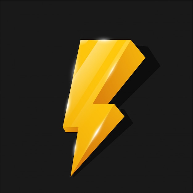 Flash 3d icon tema del fulmine giallo Vettore Premium