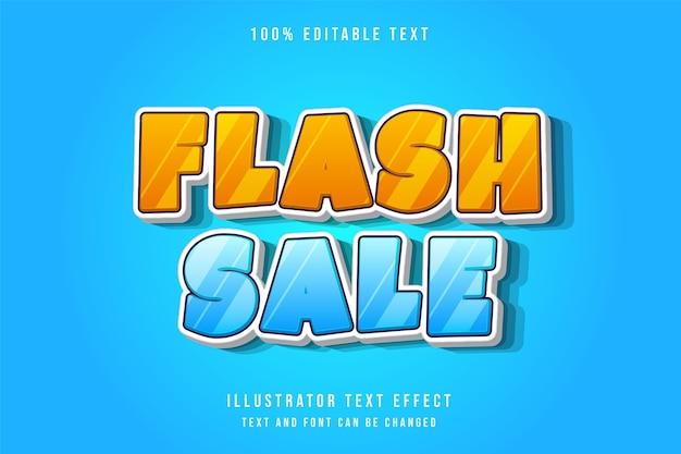 Vendita flash, 3d testo modificabile effetto moderno blu gradazione giallo stile di testo comico Vettore Premium