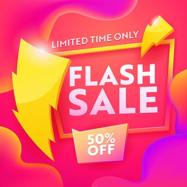 Banner moderno di pubblicità di vendita flash Vettore Premium