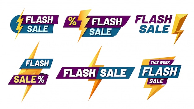 Distintivi di vendita flash. offerta lampo, badge di vendita lampo e shopping alla moda offre set di illustrazioni Vettore Premium