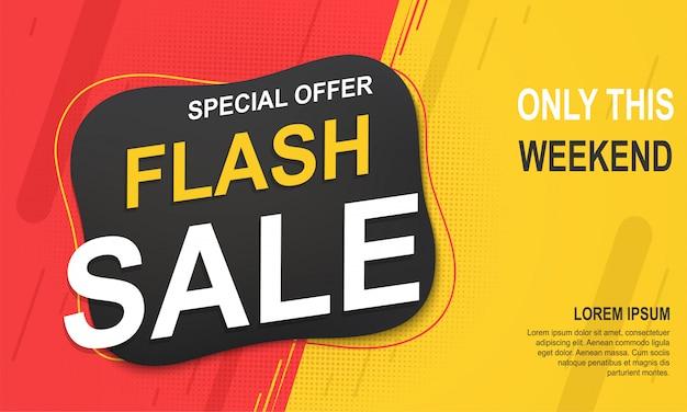 Modello di banner di vendita flash, offerta speciale per grandi vendite. Vettore Premium