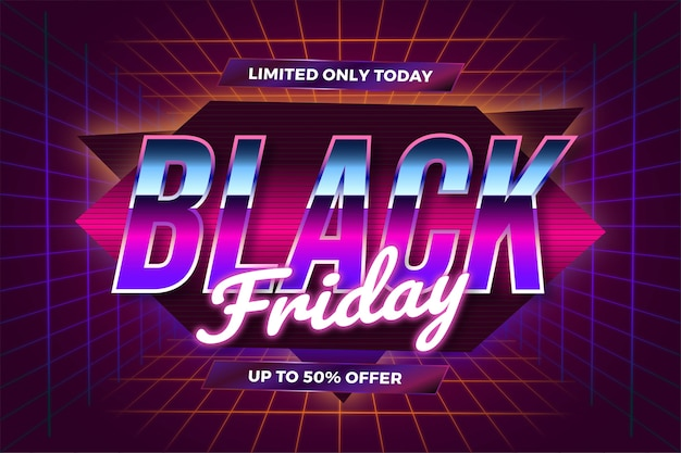 Vendita flash black friday con concetto di luce al neon realistico a tema effetto retrò anni '80 Vettore Premium