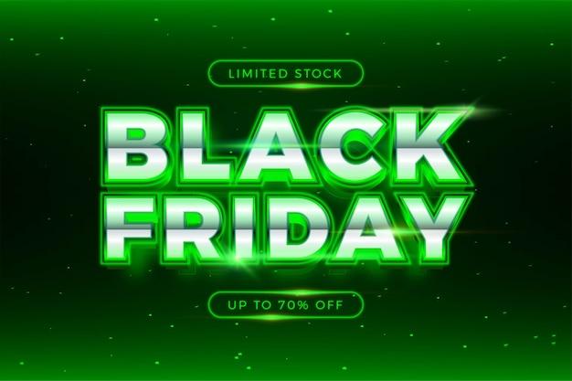 Vendita flash black friday con tema effetto argento e concetto di luce realistica al neon Vettore Premium