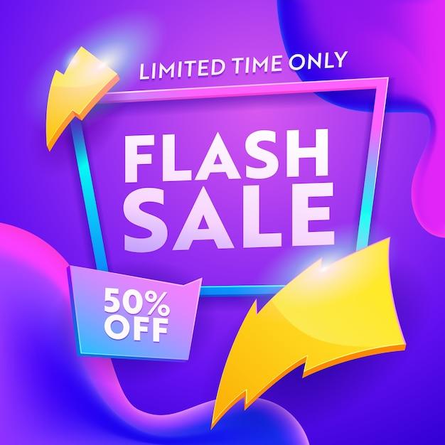 Banner moderno di sconto vendita flash in formato quadrato Vettore Premium