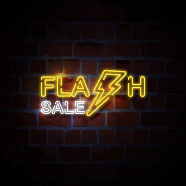 Illustrazione istantanea dell'insegna al neon di vendita Vettore Premium