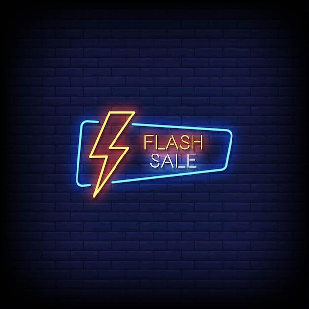 Testo di stile di insegne al neon di vendita flash Vettore Premium
