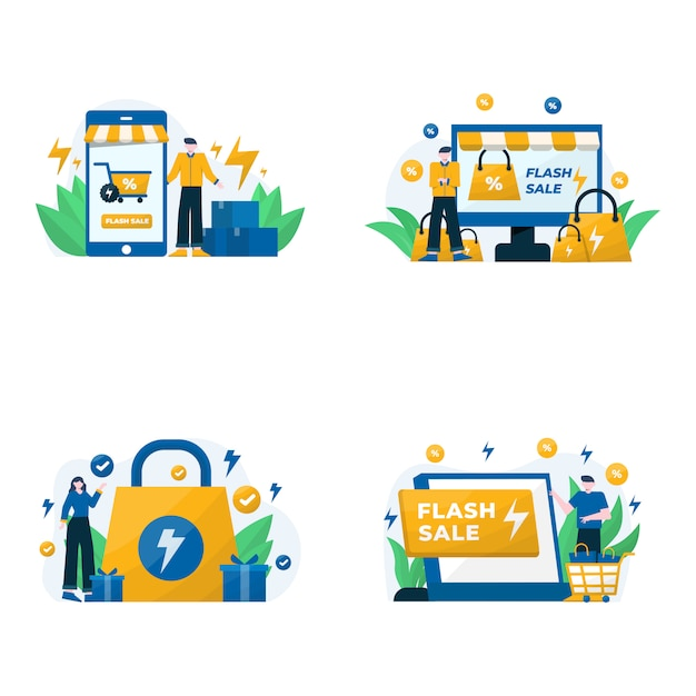 Illustrazione di promozioni, sconti e bonus di vendita flash Vettore Premium