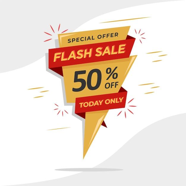 Modello di banner di promozione di vendita flash per le tue vendite di promozione. Vettore Premium