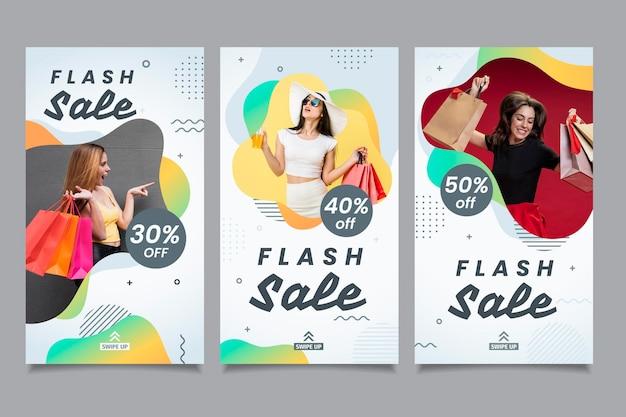 Raccolta di social media per vendite flash Vettore Premium