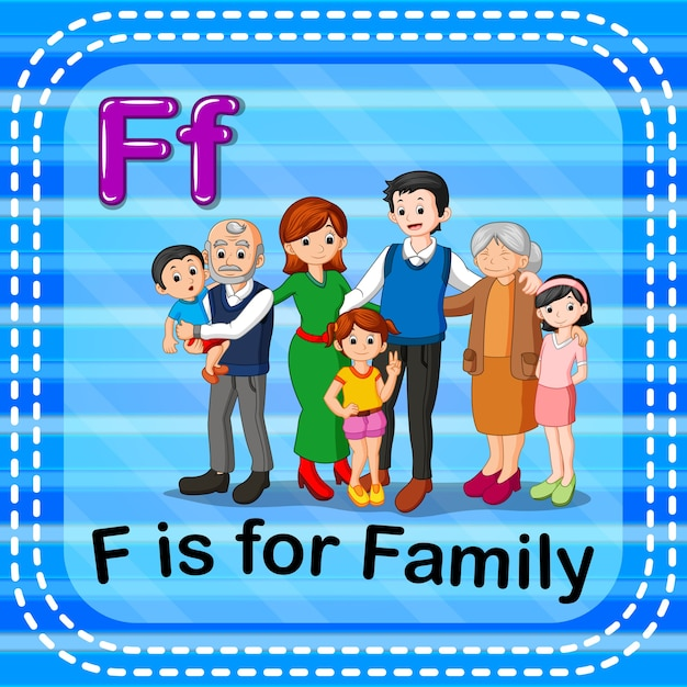 Flashcard lettera f è per la famiglia Vettore Premium