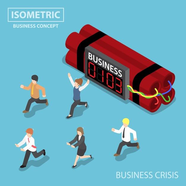 Uomo d'affari isometrico piatto 3d scappa dalla bomba del timer di affari, dalla crisi aziendale e dal concetto di scadenza Vettore Premium