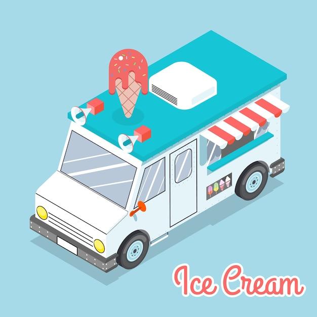 Camion gelato isometrico 3d piatto. spazio con testo. delizioso e dolce e freddo. Vettore Premium