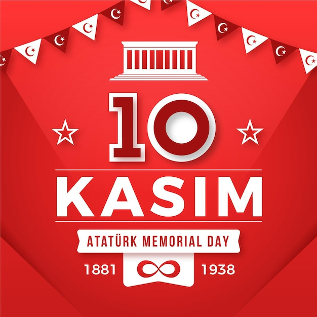 Giornata commemorativa di atatürk piatta Vettore Premium