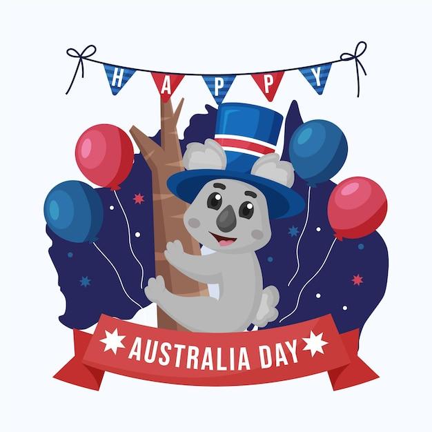 Giornata piatta in australia con adorabili koala Vettore Premium