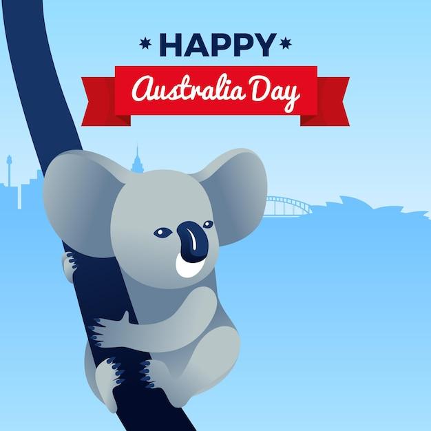 Giorno piatto australia con illustrazione di koala Vettore Premium