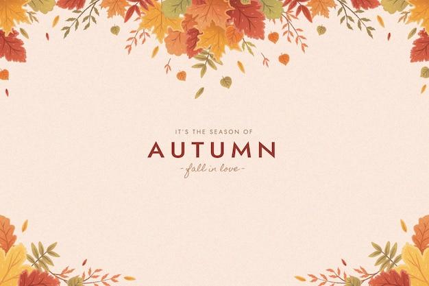 Sfondo piatto foglie d'autunno Vettore Premium