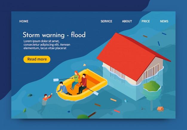 La bandiera piana è flood 3d d'avvertimento della tempesta scritta. Vettore Premium