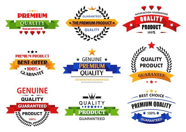 Banner piatti, emblemi ed etichette con lunghe ombre per la vendita al dettaglio e la vendita Vettore Premium