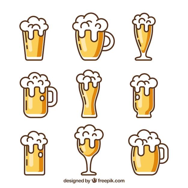 Bicchiere da birra piatto e collezione di tazze Vettore Premium