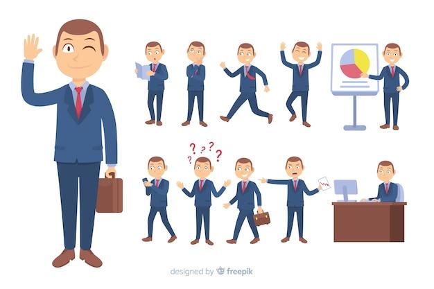 Personaggio aziendale piatta in diverse posizioni Vettore Premium