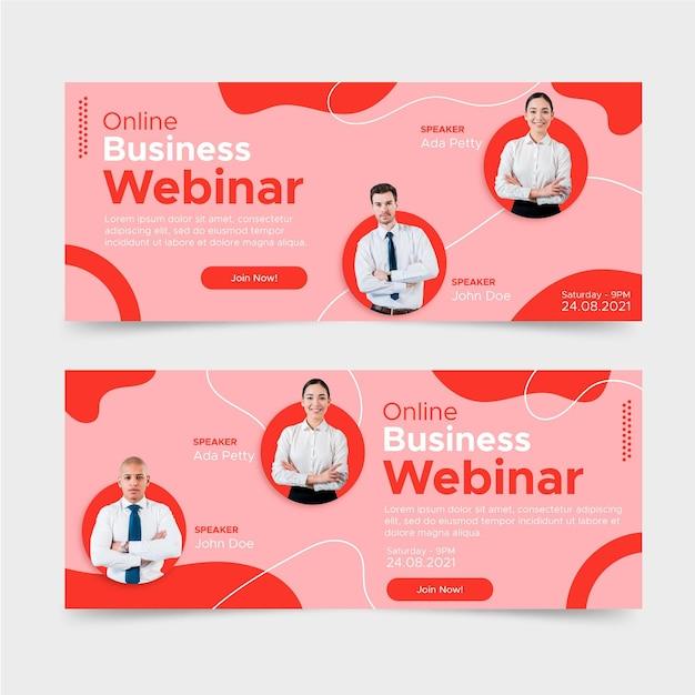Design piatto banner webinar aziendale Vettore Premium