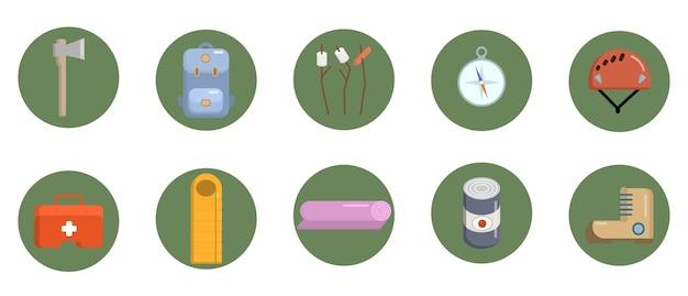 Set di icone di campeggio piatte Vettore Premium
