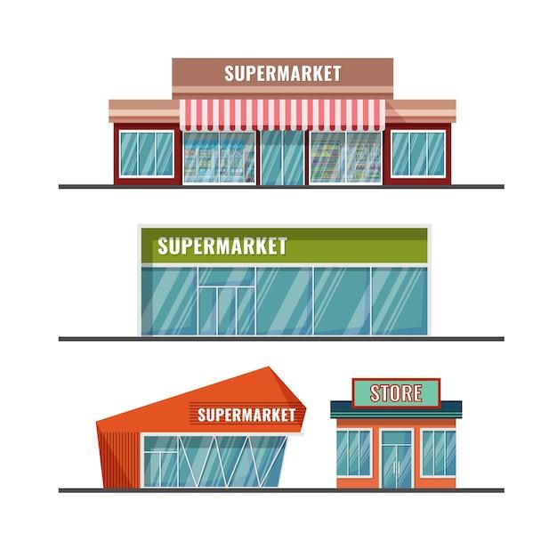 Esterno supermercato stile catroon piatto di vari disegni Vettore Premium