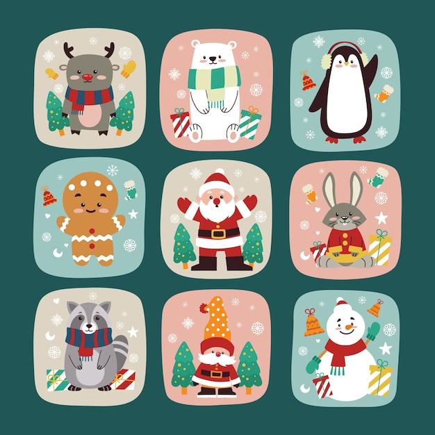 Collezione di personaggi natalizi piatti per biglietto di auguri Vettore Premium