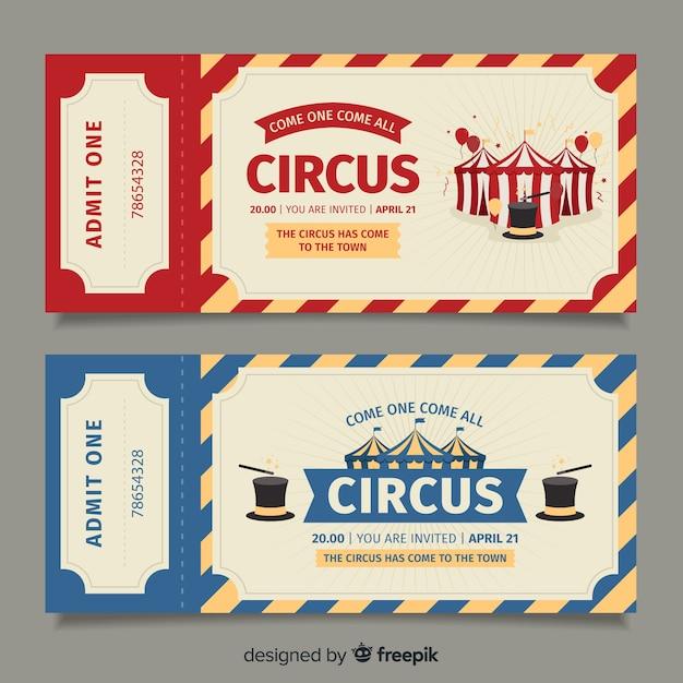 Modello di biglietto del circo piatto Vettore Premium