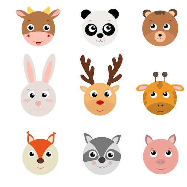 Set testa piatta simpatici animali Vettore Premium