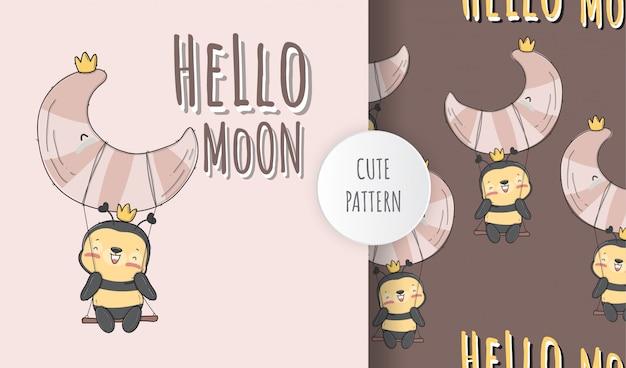 Piatto carino baby ape sulla luna modello animale illustrazione Vettore Premium